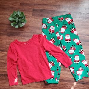 Girls 4T Santa PJ Pants Red Shirt